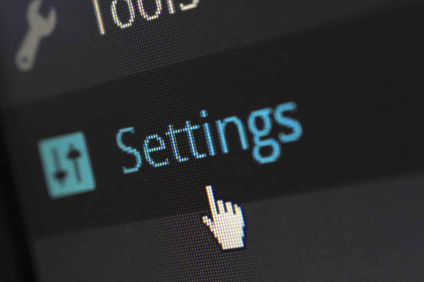 wordpress settings button