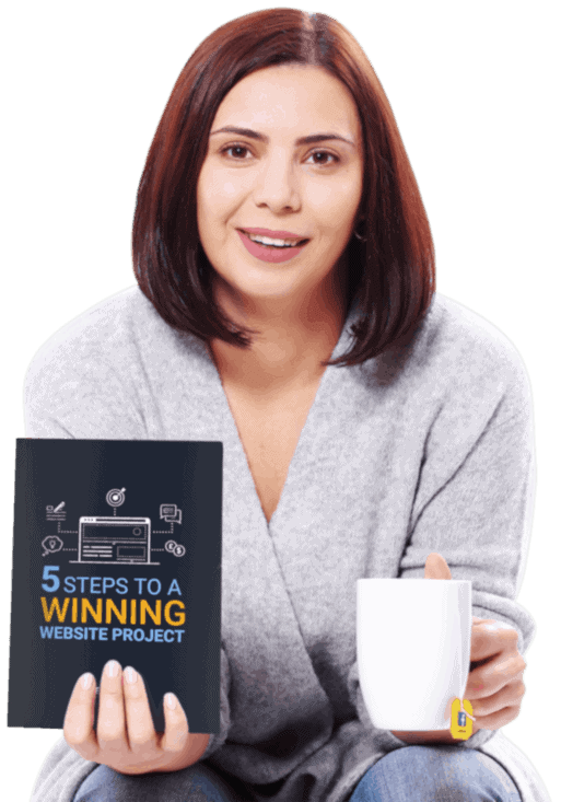 lady holding winning website project book